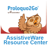 Thumbnail picture of Proloquo2Go logo (an owl smiling and waving) with the words Proloquo2Go AssistiveWare Resource Center.