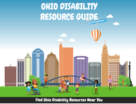 Screenshot of Ohio Disability Resource Guide - Computer generated park with children playing and a city landscape in the background.  The sky contains an airplane and a hot air balloon.